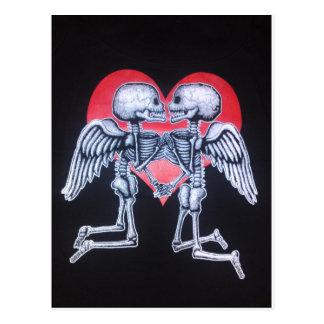 skull love postcard