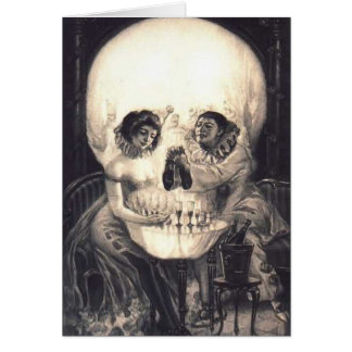 Skull Love Retro Optical Illusion Card
