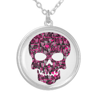 SKULL love Silver Plated Necklace