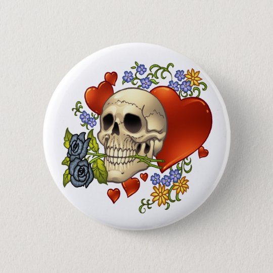 Skull Love - Skulls, Roses and Hearts by Al Rio 6 Cm Round Badge