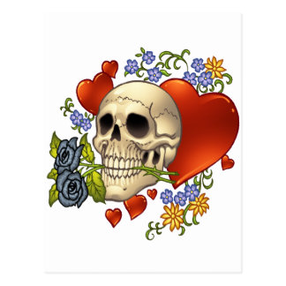 Skull Love - Skulls Roses and Hearts by Al Rio Postcards