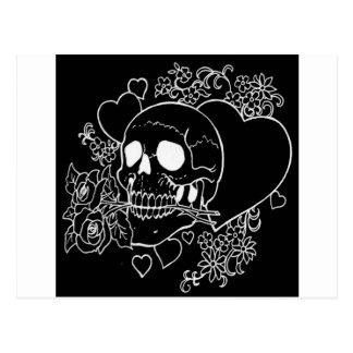 Skull Love - Skulls Roses and Hearts by Al Rio Postcard