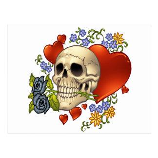 Skull Love - Skulls, Roses and Hearts by Al Rio Postcard