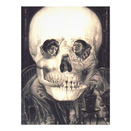 Skull Love Victorian Optical Illusion Vintage Art Photographic Print