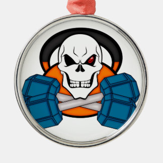 Skull love's weights christmas ornament