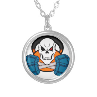Skull love's weights silver plated necklace