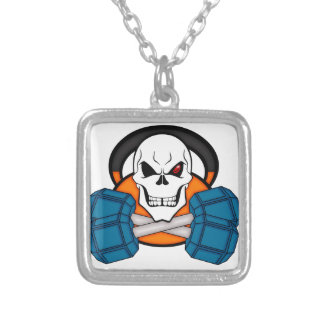 Skull love's weights square pendant necklace