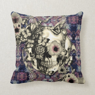 Skull made of poppies and butterflies throw pillow