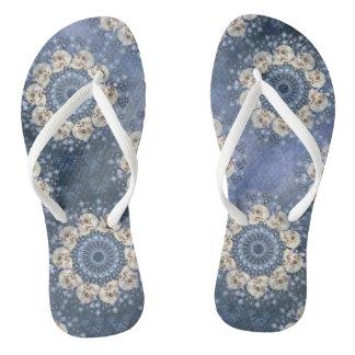 Skull Mandala (tiled in denim blue) Flip Flops