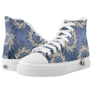 Skull Mandala (tiled in denim blue) High Tops