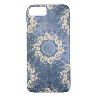 Skull Mandala (tiled in denim blue) iPhone 8/7 Case