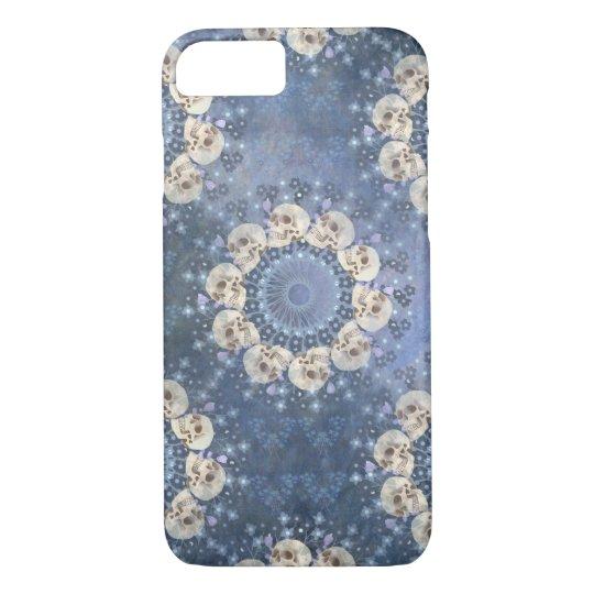 Skull Mandala (tiled in denim blue) iPhone 8/7
