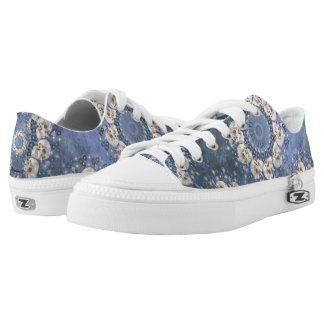 Skull Mandala (tiled in denim blue) Low Tops