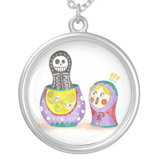 Skull Matrioshka Silver Plated Necklace