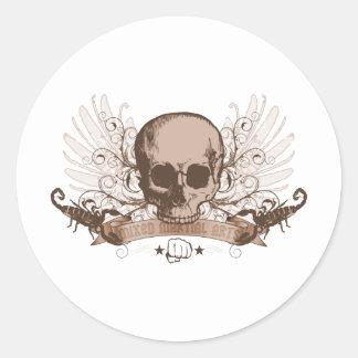 Skull montage - bronze round stickers