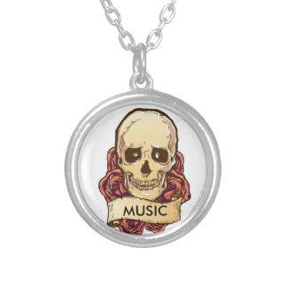 Skull & Music Silver Plated Round Necklace