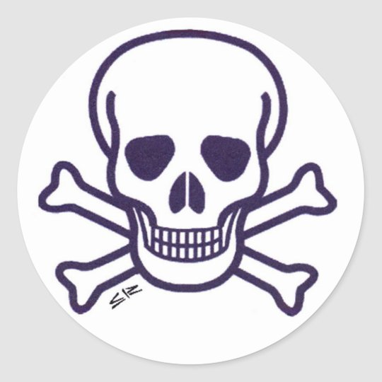 Skull n Bones round white sticker