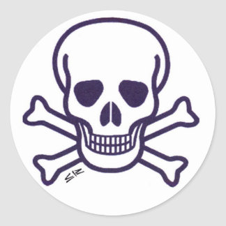 Skull n Bones small round stickers