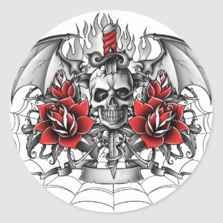 Skull n Dagger with Devil wings Classic Round Sticker