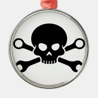 Skull 'n' Tools - Screw Pirate 1 (black) Silver-Colored Round Decoration