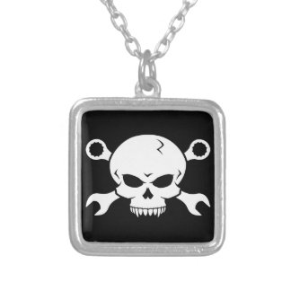 Skull 'n' Tools - Screw Pirate 2 (white) Personalized Necklace