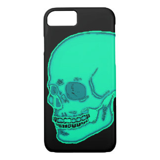 Skull neon light blue iPhone 8/7 case