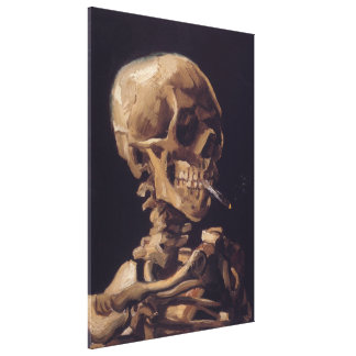 Skull of a Skeleton with Burning Cigarette Gallery Wrap Canvas