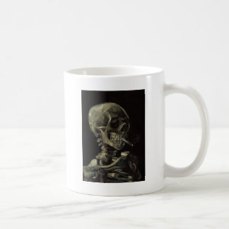 Skull of a Skeleton with Burning Cigarette Coffee Mugs