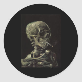 Skull of a Skeleton with Burning Cigarette Round Sticker