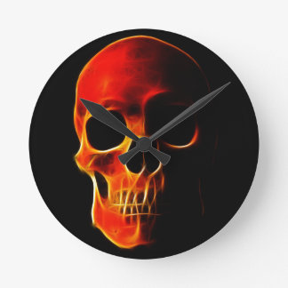 Skull of Flames Round Clock