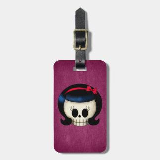 Skull of Rockabilly Girl Luggage Tag