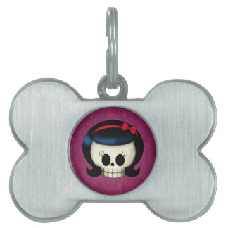 Skull of Rockabilly Girl Pet Name Tag