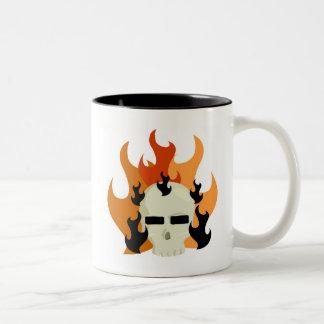 SKULL ON FIRE GRAPHIC PRINT COFFEE MUG