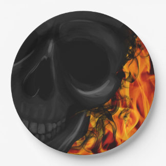 Skull on fire paper plate