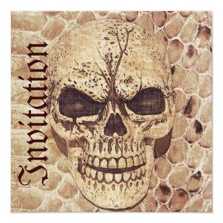 skull on snakeskin halloween invitation