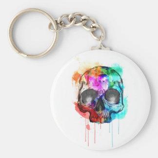Skull Paint Splatter Basic Round Button Key Ring