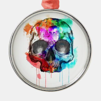 Skull Paint Splatter Christmas Ornament