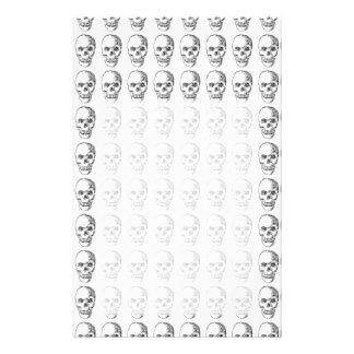 Skull Pattern. Black and White. Stationery