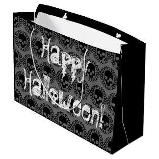 Skull Pattern Elegant Fun Halloween Goth Any Color Large Gift Bag