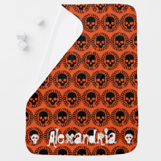 Skull Pattern Fancy Halloween Goth Any Color Receiving Blanket