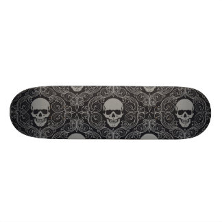 Skull Pattern Gray and black Texture Gothic Floral Custom Skate Board
