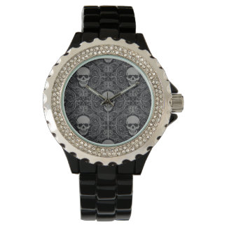 Skull Pattern Gray and black Texture Gothic Floral Watch