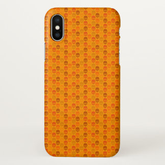 Skull pattern in orange colours iPhone x case