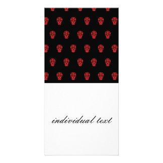skull pattern red custom photo card