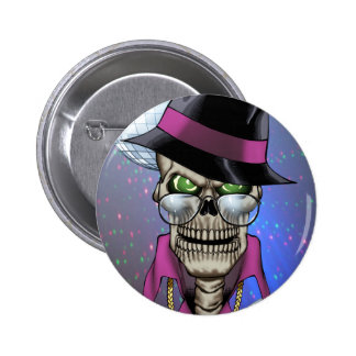 Skull Pimp with Hat, Glasses, Gold Chain and Disco 6 Cm Round Badge