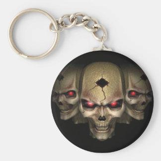 skull pin key ring