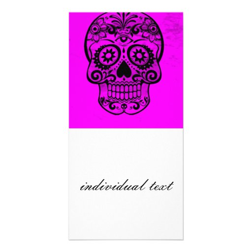 Skull,pink 04 customized photo card