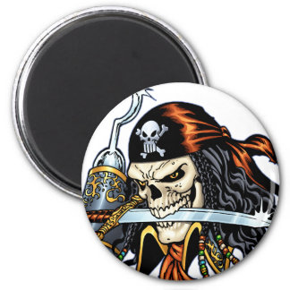 Skull Pirate with Sword and Hook by Al Rio 6 Cm Round Magnet
