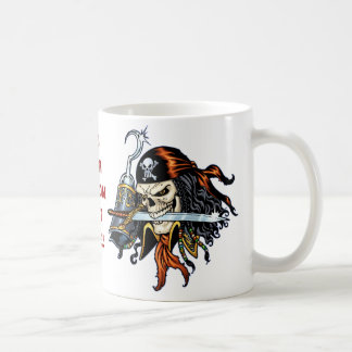 Skull Pirate with Sword and Hook by Al Rio Coffee Mug