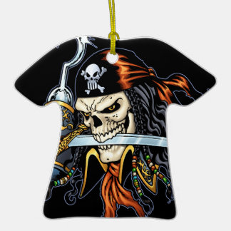Skull Pirate with Sword and Hook by Al Rio Christmas Tree Ornament